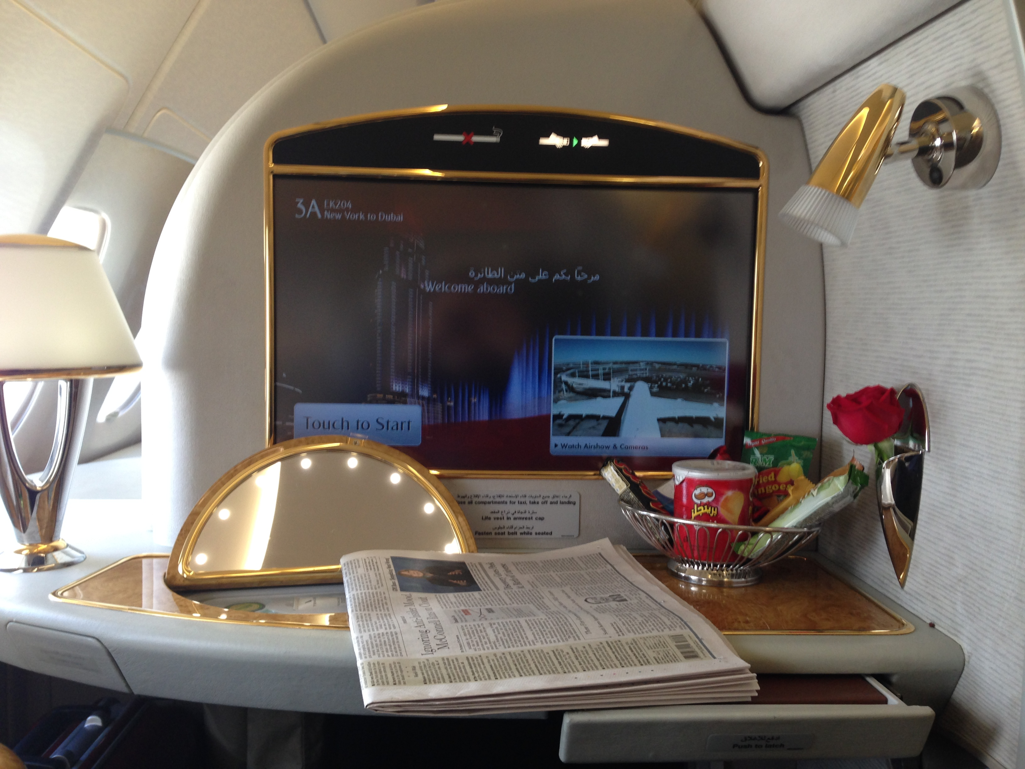 Day 2: Emirates First Class New York – Dubai